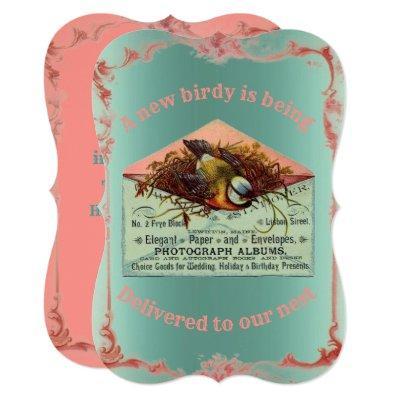 Vintage nesting bird baby shower invitation