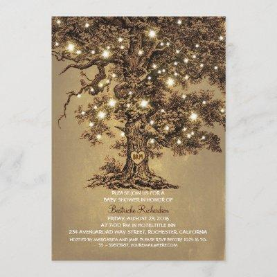 vintage old oak tree rustic cute baby shower invitation