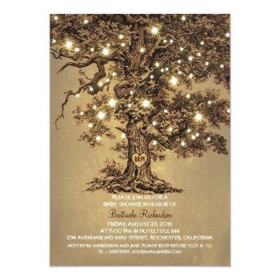 vintage old oak tree rustic cute baby shower invitation