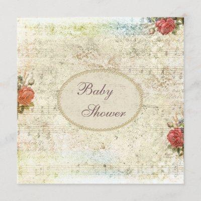 Vintage Pearls & Lace Shabby Chic Baby Shower Invitation