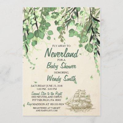 Vintage Peter Pan Neverland Baby Shower Invitation