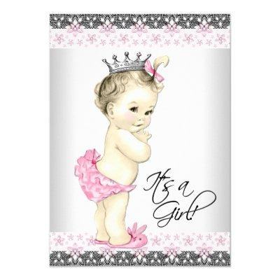 Vintage Pink and Gray Princess Baby Girl Shower Invitation