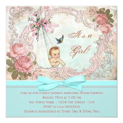 Vintage Pink and Teal Blue Baby Shower Invitations