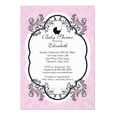 Vintage Pink Damask Girls Baby Shower Invitation