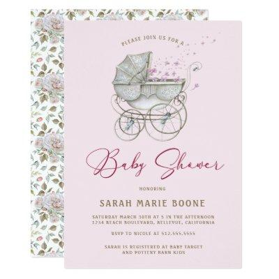 Vintage Pink Floral Baby Carriage Girl Baby Shower Invitation
