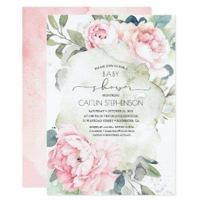Vintage Pink Flowers and Greenery Baby Shower Invitation