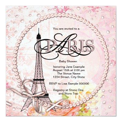 Vintage Pink Paris Baby Shower Invitations