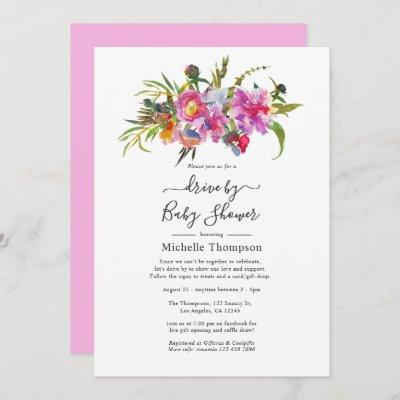 Vintage Pink Peonies Floral Drive By Shower Invitation