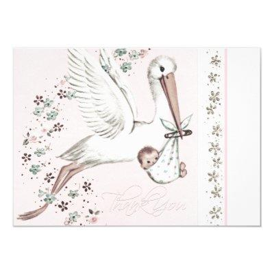 Vintage Pink Stork Baby Shower Thank You Invitations