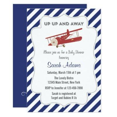 Vintage Plane Baby Shower Invitation Red and Blue