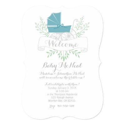 vintage pram blue Invitations