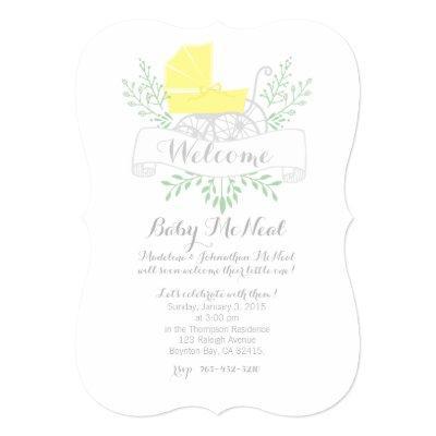 vintage pram BABY SHOWER gender neutral Invitations
