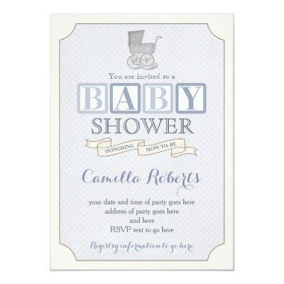 vintage pram baby shower or sprinkle invites, boy invitation