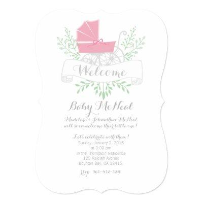 vintage pram BABY SHOWER pink Invitations