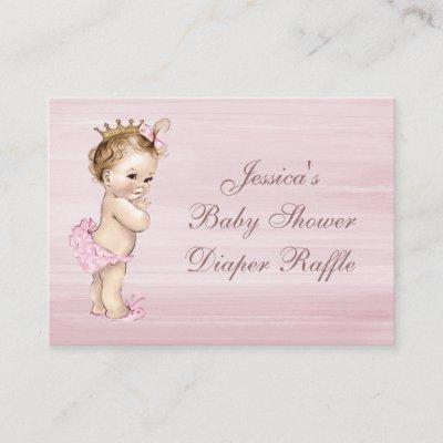 Vintage Princess Baby Shower Diaper Raffle Enclosure Card
