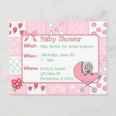 Vintage Quilt Pink Girl's Baby Shower Invitation