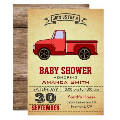 Vintage Red Truck Baby Shower Invitation