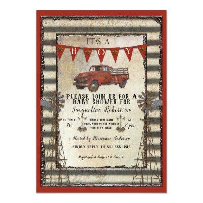 Vintage Red Truck Rustic Farmhouse Boy Baby Shower Invitations