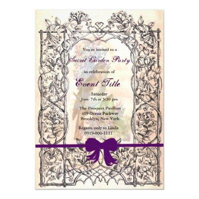 Vintage Retro Secret Garden Tea Party Custom Invitations