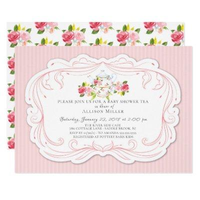 Vintage Rose Baby Shower Tea Party Invitation