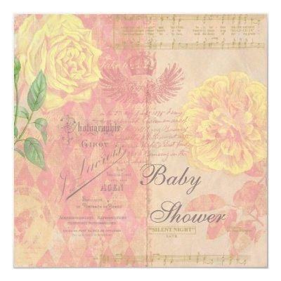Vintage Roses, Crown & Music Collage Baby Shower Invitation