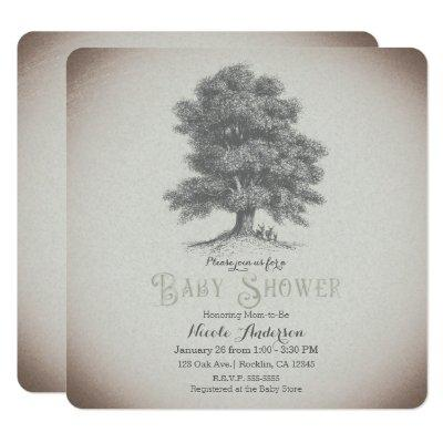 Vintage Rustic Tree & Deer Storybook Baby Shower Invitation