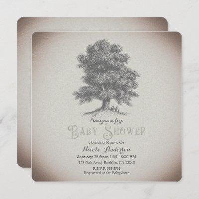 Vintage Rustic Tree & Deer Storybook Baby Shower Invitation
