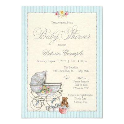 Vintage Shabby Chic Girls Baby Shower Invitations