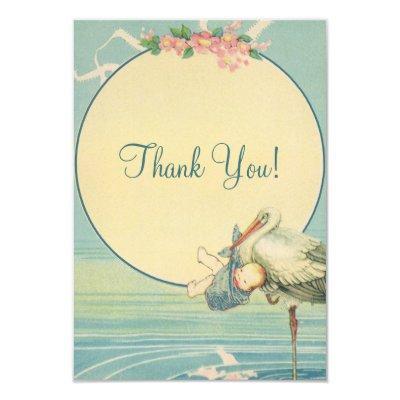 Vintage Stork Blue Boy Thank You Invitations