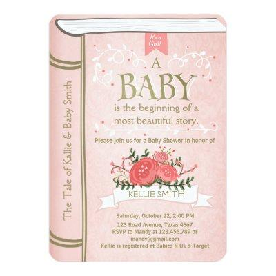 Vintage Storybook Invitations Pink Gold