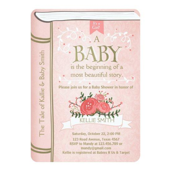 Vintage Storybook Baby shower Invitations Pink Gold