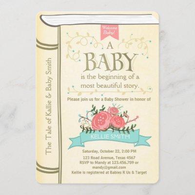 Vintage Storybook Baby shower invitation Yellow
