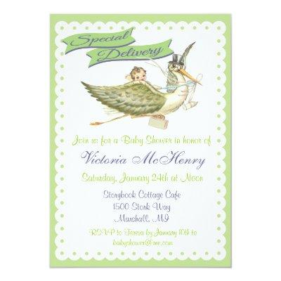 Vintage Storybook Stork Invitations