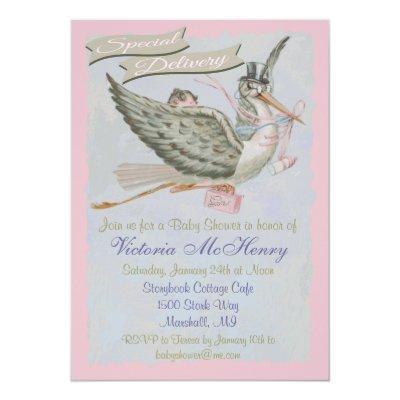 Vintage Storybook Stork