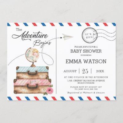 Vintage Suitcase Baby Shower Girl Adventure Postal Invitation