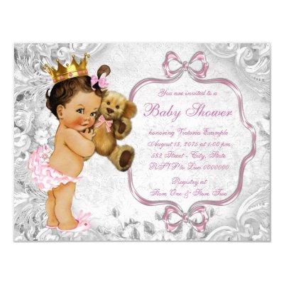 Vintage Teddy Bear Ethnic Baby Girl Shower Invitations