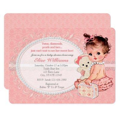 Vintage Teddy Bear Girls Baby Shower Invitations 2