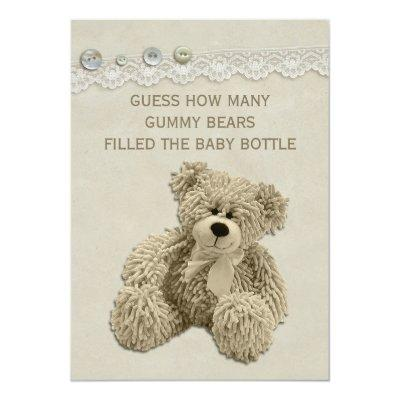 Vintage Teddy Bear Guessing Game Sign Invitations