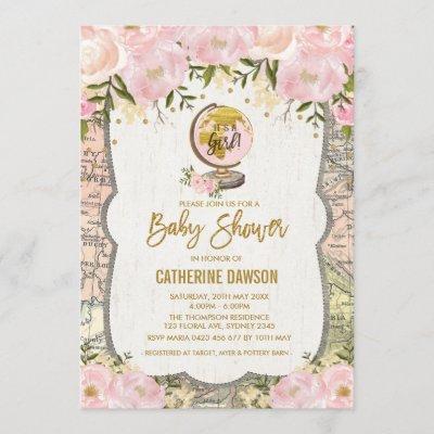 Vintage Travel Baby Girl Shower Invitation Floral