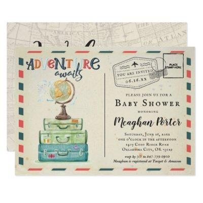 Vintage Travel Themed Baby Shower Invitation