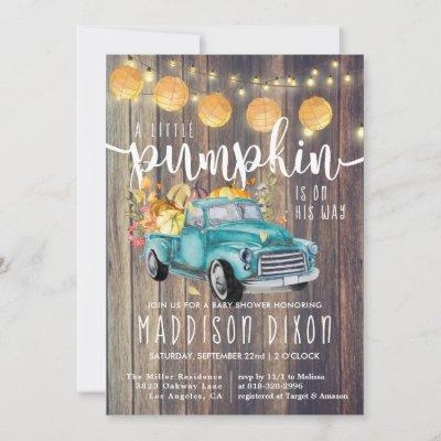 Vintage Truck Rustic Barnwood Autumn Baby Shower