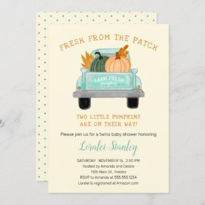 Vintage Truck Two Pumpkins Fall Twins Baby Shower Invitation