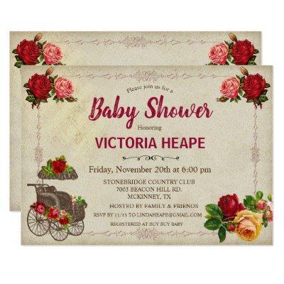 Vintage Victorian Floral Baby Shower Invitation
