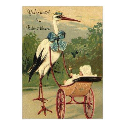 Vintage Victorian Stork Baby Shower Invitation