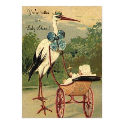 Vintage Victorian Stork Invitations
