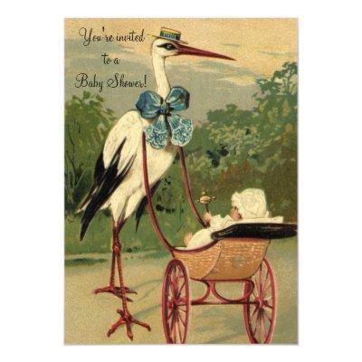 Vintage Victorian Stork,