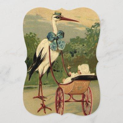 Vintage Victorian Stork with Carriage Baby Shower Invitation