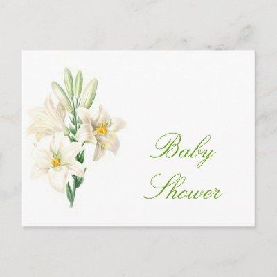 Vintage white lily baby shower baby shower invitations baby shower vintage white lily flowers baby shower postinvitations filmwisefo