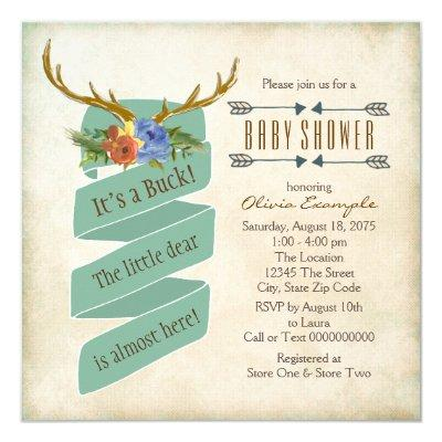 Vintage Woodland Deer Antler Baby Shower Invitations
