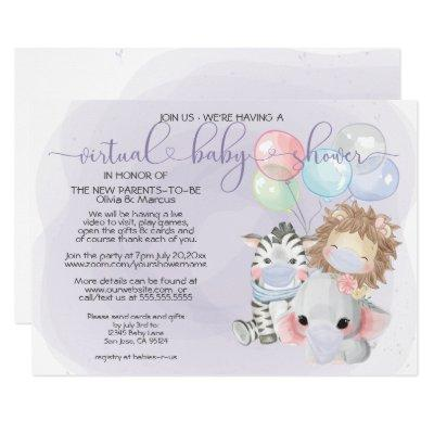 Violet 3 Cute Animals in Masks Virtual Baby Shower Invitation